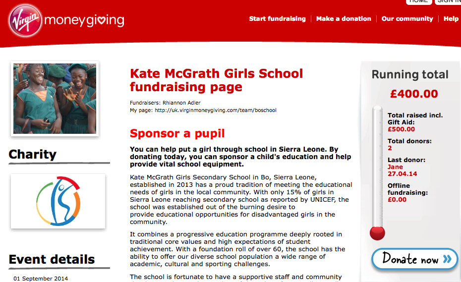 Kate McGrath School for Girls in Bo, Sierra Leone